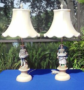 Antique-Victorian-Lady-amp-Gentleman-Bisque-Figurine-Table-Lamps