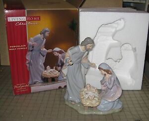Living-Home-Christmas-PORCELAIN-HOLY-FAMILY-Hand-Painted-10-amp-3-4-034-Tall-Figurine