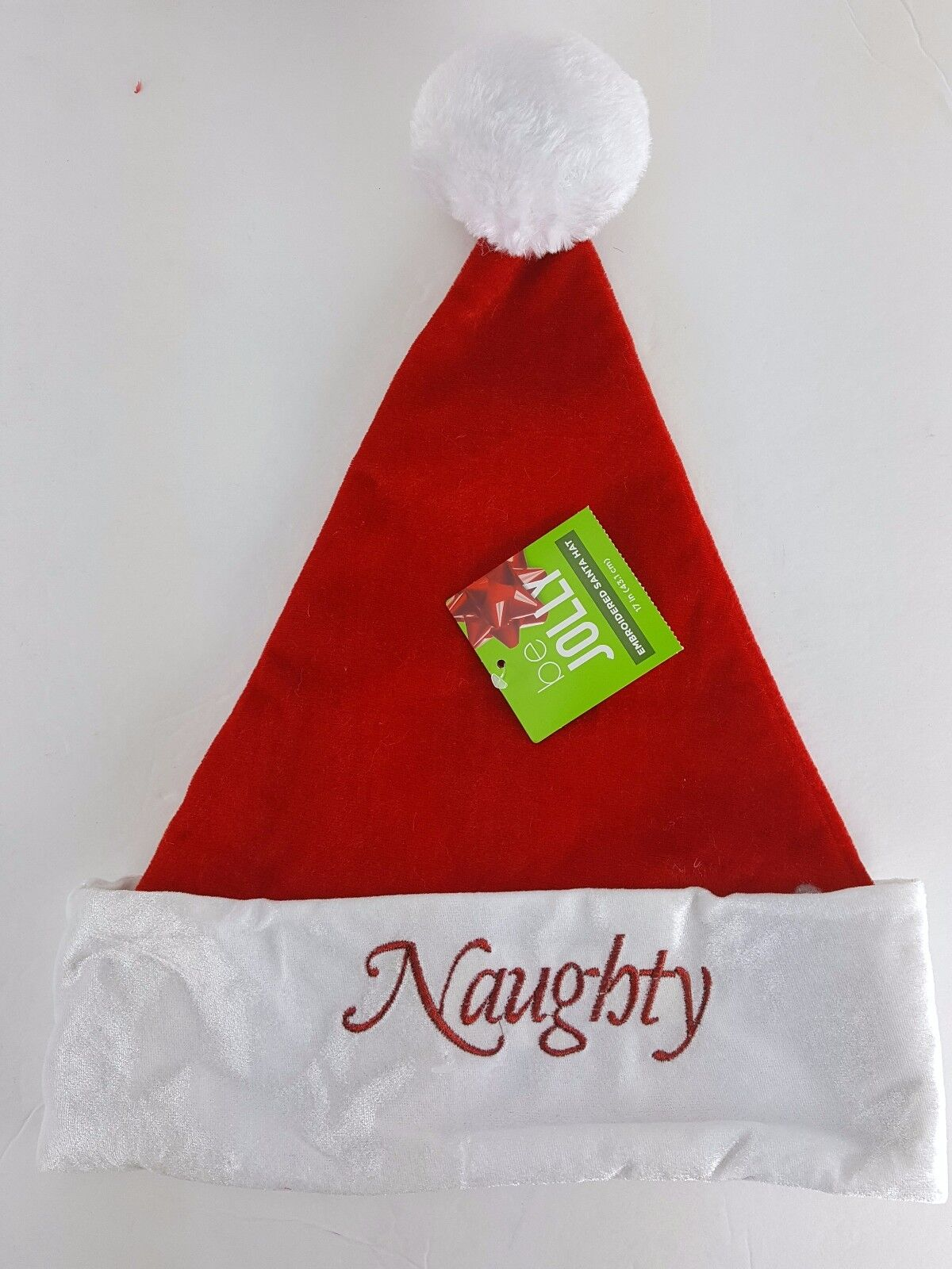 c8b85a5e4e0 Santa Hat Naughty or Reversible Plush Embroidered Red White Adult ...