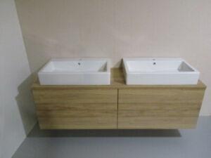 Details zu Vero 70 Waschbecken Unterschrank für 2 Aufsatzwaschbecken mit  Konsolenplatte