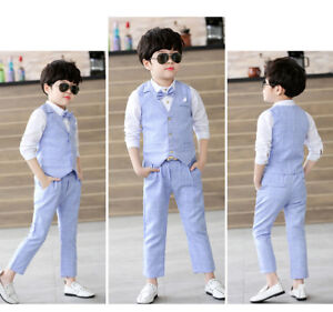 Boys Suits 3Pcs Formal Toddler Baby Kid Waistcoat Suit Wedding Party ...