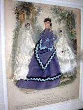 Antiker Mode Schaukasten Damenmode Biedermeier um 1860
