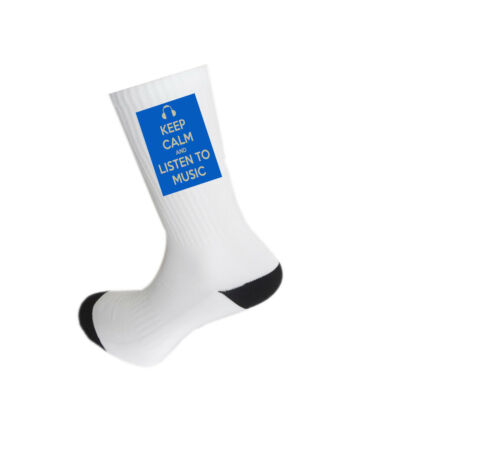 High Quality Keep Calm and Listen to Music Design Socks,
