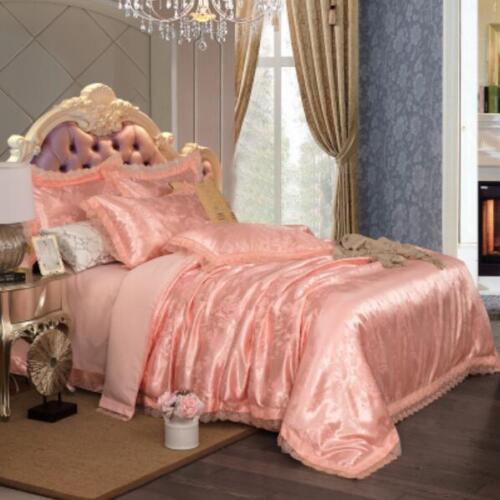 4Pcs Cotton Blend Lace Duvet Cover Sets Bedding Floral Queen King Pillow Case T8