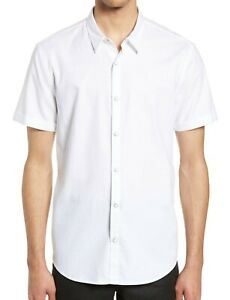 John-Varvatos-Star-USA-Men-039-s-Short-Sleeve-Clark-Snap-Front-Solid-Shirt-White