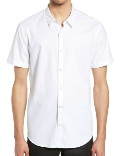 John Varvatos Star USA Men/'s Short Sleeve Clark Snap Front Solid Shirt White