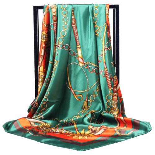 Womens Flower Print Satin-Silk Long Scarf Wrap Lady Shawl Silk Scarves Stole Lot