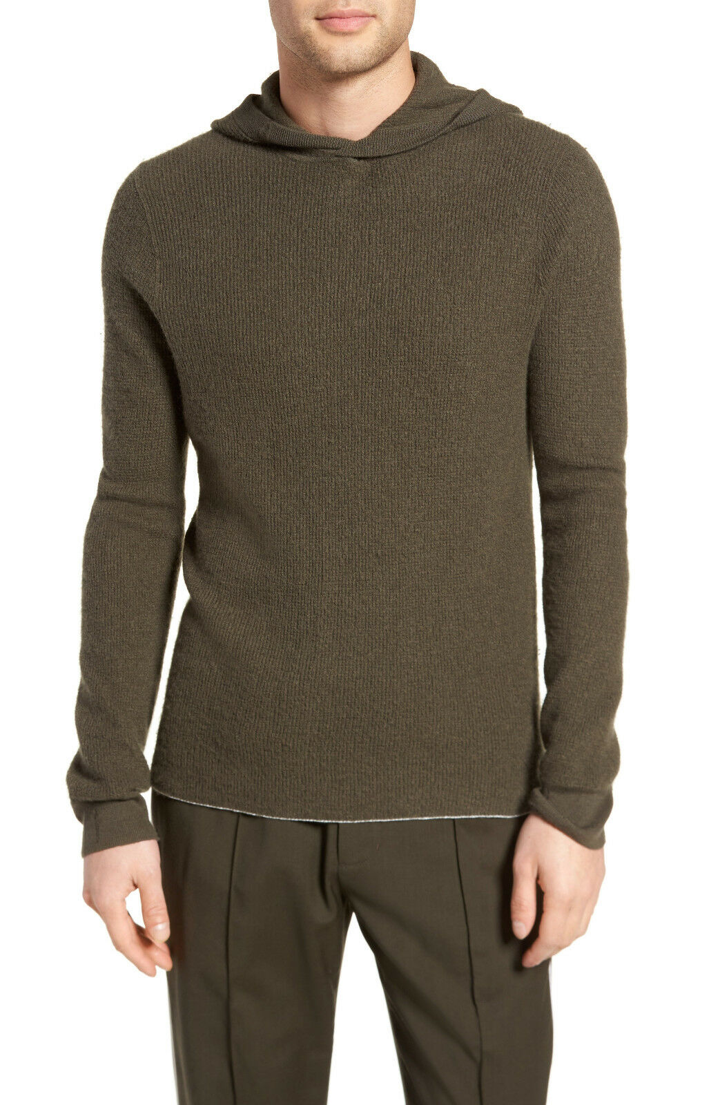 VME308 NWT VINCE 100% CASHMERE WAFFLE PULLOVER MEN HOODIE SWEATER SIZE S 395