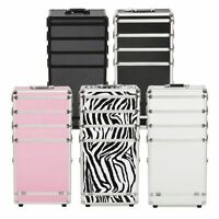 4 In1aluminum Rolling Makeup Train Case Wheel Cosmetic Box Drawer Professional T