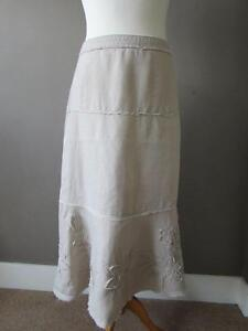 MONSOON-Ladies-Cream-Beige-Pure-Linen-Midi-Skirt-Applique-Flowers-Size-10-VGC