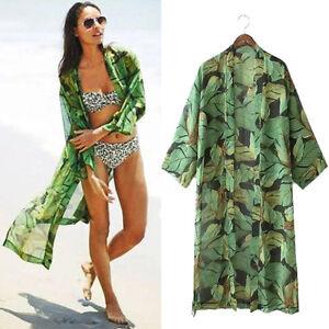 Womens Green Leaf Print Jacket Chiffon Blouses Kimono Cardigan ...