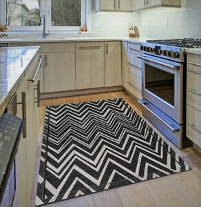 Black Kitchen Rug Grey Chevron Zig Zag