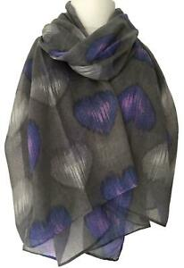 Blue Scarf Silver Love Hearts Ladies Sarong Wrap Shawl Sparkly Foil Heart Print