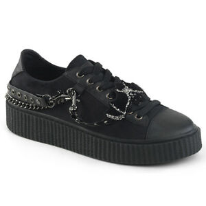 Demonia-SNEEKER-112-Men-039-s-Black-Canvas-Black-Platform-Round-Toe-Lace-Up-Creepers