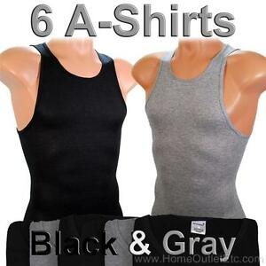 f3fe90a006f6f3 Details about 6 Men s A-Shirts Undershirt Ribbed Tank Top Wife Beater  Underwear Black   Gray
