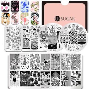 UR-SUGAR-Nagel-Stempel-Schablone-Platten-Nail-Art-Stamping-Plates-Blume-Bild