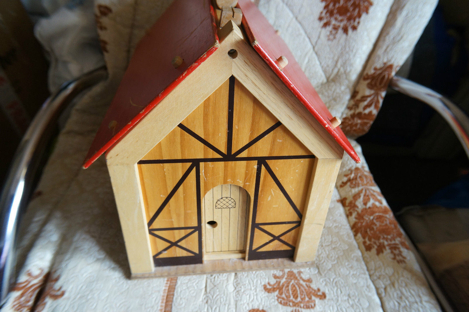 'VOILA' Wooden Doll House + pieces and dolls inc wizard,rare,vintage,collectors
