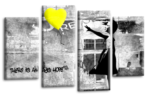 """BANKSY ART PICTURE YELLOW GREY CANVAS GIRL WITH BALLOON WALL 4 PANEL 40 x 27/"""""""