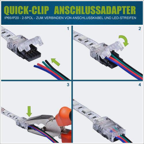 LED Verbinder /& Anschluss Adapter QuickClip IP20//65 Streifen Strip Zubehör Kabel