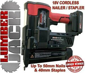 Lumberjack-18v-Cordless-Li-Ion-Nail-Gun-amp-Stapler-2nd-Fix-Brad-Nailer-with-Case