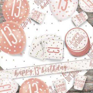 ORO-Rosa-Sfarzo-13th-Festa-di-Compleanno-Forniture-Servizio-da-Tavola-Decorazioni-Palloncini