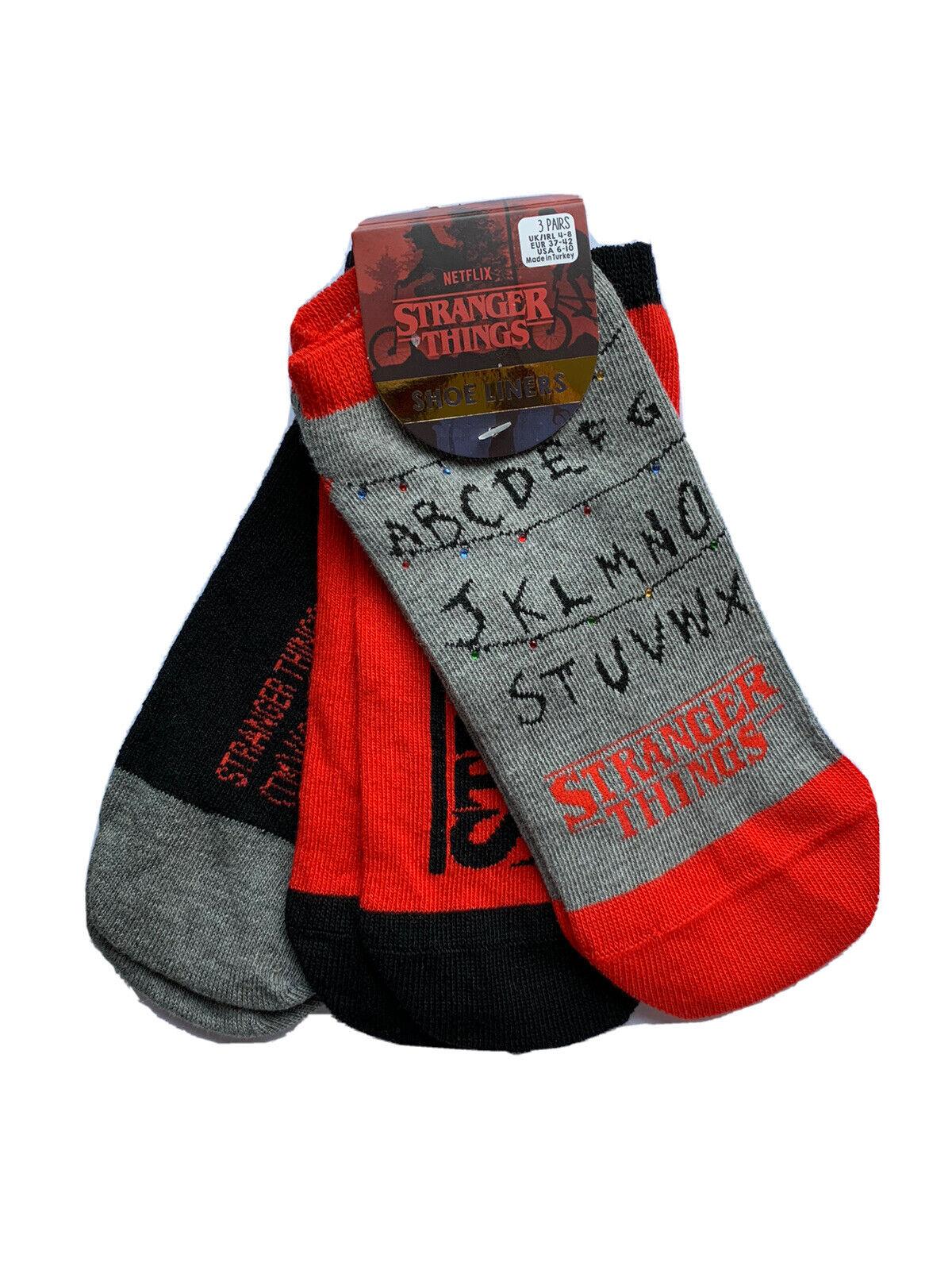 3 Paar Stranger Things Damen Sneaker Socken Füßlinge Netflix Serie 37-42