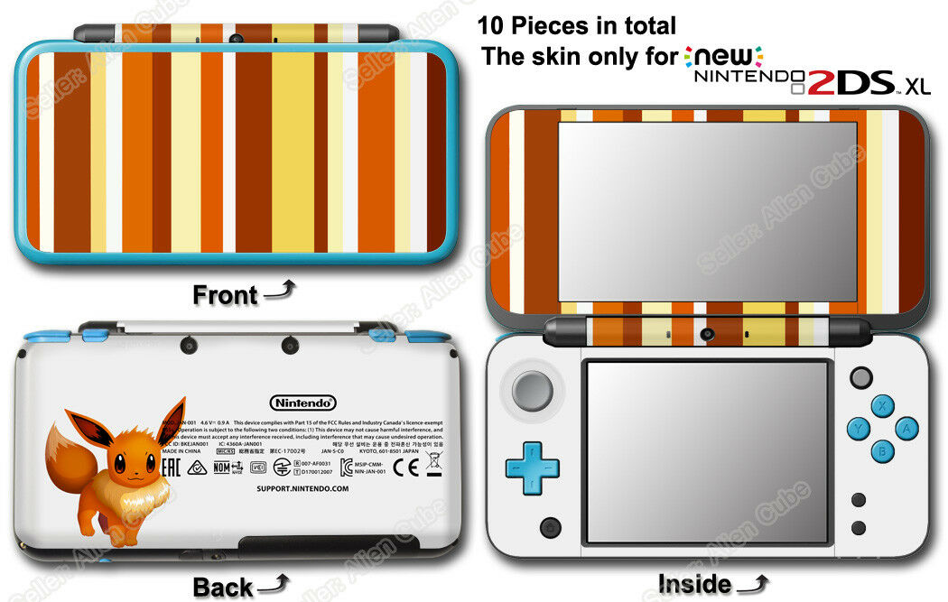 Pokemon Eevee Classic Edition Vinyl Skin Sticker Decal Cover for NEW 2DS XL