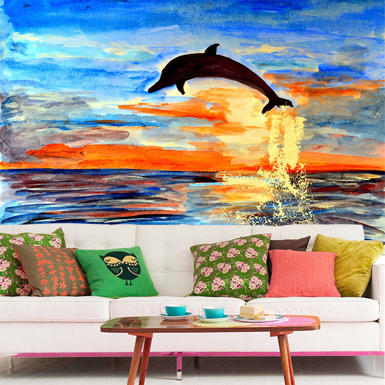 3D painting dolphin dusk Wall Paper Print Decal Wall Deco Indoor wall Mural
