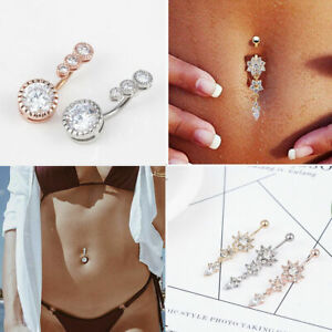 Navel-Belly-Button-Rings-Bar-Crystal-Flower-Dangle-Body-Piercing-Jewelry-Beauty