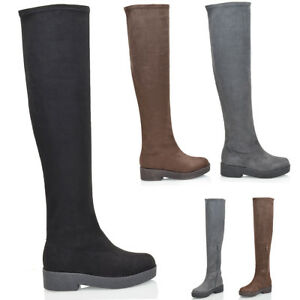 Womens-Over-The-Knee-Boots-Ladies-Flat-Biker-Stretch-Zip-Winter-Cleated-Shoes