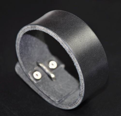 Handmade Vintage Cool Single Band Surfer Leather Bracelet Wristband Cuff Black