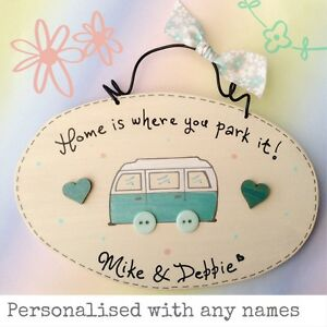 Camper Van Sign Home Is Where You Park It Plaque Personalised With - Car sign with names