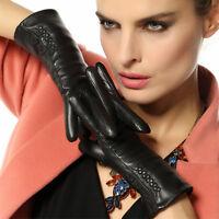 WARMEN Women's  Winter Long Fleece Lined Wrist Genuine Lambskin Leather Gloves