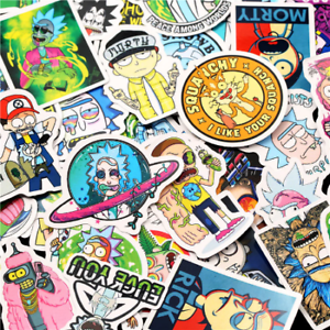50 pcs Rick and Morty American Drama Sticker Set laptop stickers skateboarding