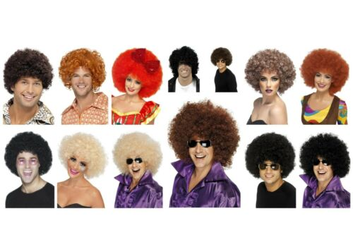 Ladies Mens Fancy Dress 70/'s Disco Funky Afro Wigs /& Specs Huggy Bear Beyonce