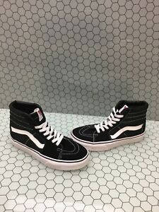 VANS Sk8 Hi Black White CanvasSuede Lace Up Skate Shoes Men
