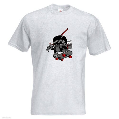 Kylo Skate Mens PRINTED T-SHIRT Skateboard Lightsaber Cartoon Star Wars Funny