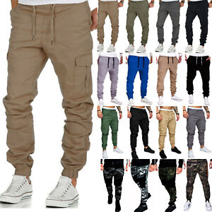 Men-039-s-Casual-Elastic-Cargo-Pockets-Pants-Sports-Jogging-Leisure-Harem-Trousers