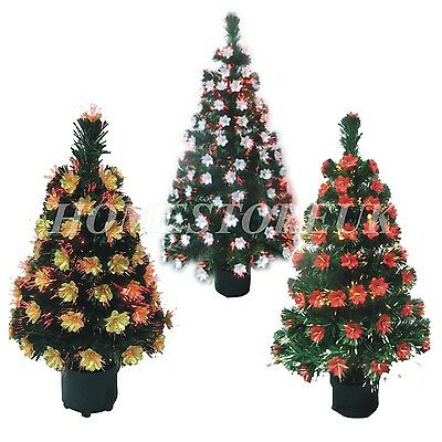 FIBRE OPTIC LIGHT UP TREE MULTI COLOUR XMAS CHRISTMAS WITH POINSETTIA DECORATION