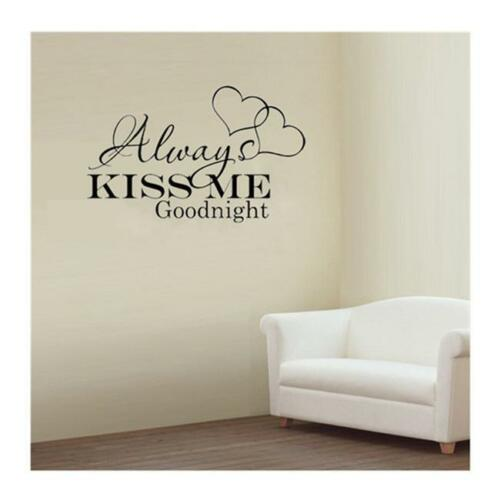 """/""""Always Kiss Me Goodnight/""""Living Room Bedroom Wall Sticker Removable Decal Art B"""