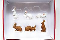 Preiser 1:25 Scale 47052 Six Bunnies : Bunny Rabbit Animal Figures