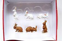 Preiser 1:25 Scale 47052 Six Bunnies : Bunny Rabbit Animal Figures