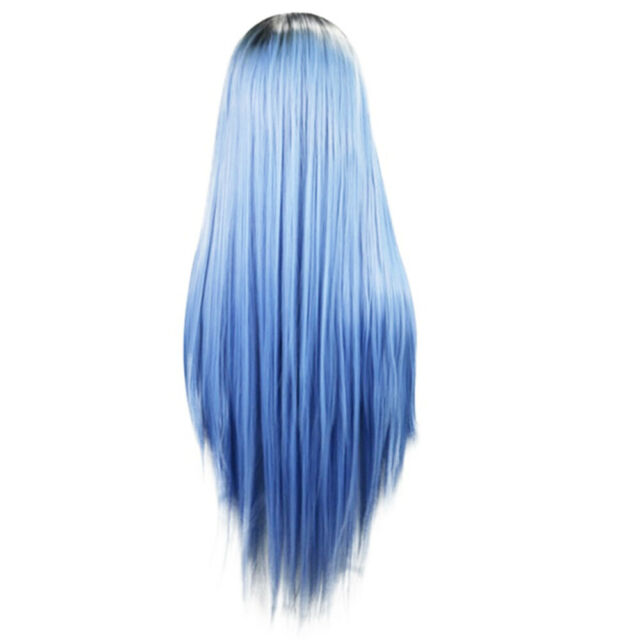 Long Blue Straight Wig Heat Resistant Synthetic Hair Cosplay Party Women Beauty