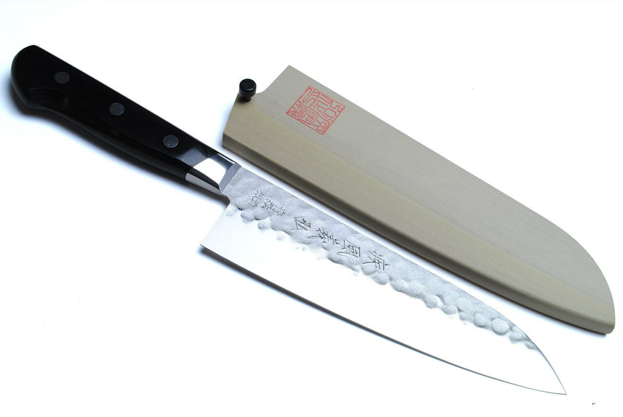 blue high carbon stainless santoku 18cm japanese sushi chef knife yoshihiro ebay. Black Bedroom Furniture Sets. Home Design Ideas