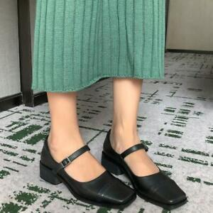 Vintage-Women-Leather-Mary-Janes-Buckle-Pumps-Lolita-Shoes-Casual-Flats-Mid-Heel