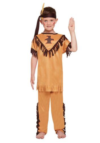 Kids Fancy Dress American Indian Boy Costume Native Cowboys v Indians Tribe