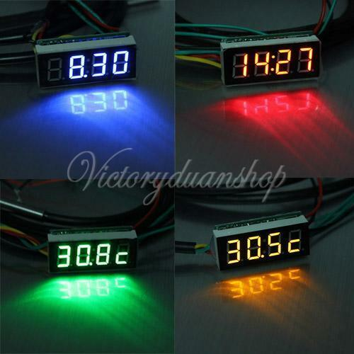 3 In 1 0.28'' LED DC Display Temperature Time Auto Car Voltage LED Digital Meter