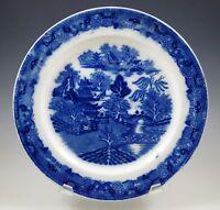 "ANTIQUE FLOW BLUE BLUE WILLOW, ORIENTAL PLATE, 8.1/2"""
