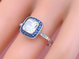 edbf49a50ddd5 Details about ESTATE ART DECO 1ct CUSHION DIAMOND SAPPHIRE HALO ENGAGEMENT  COCKTAIL RING EGL