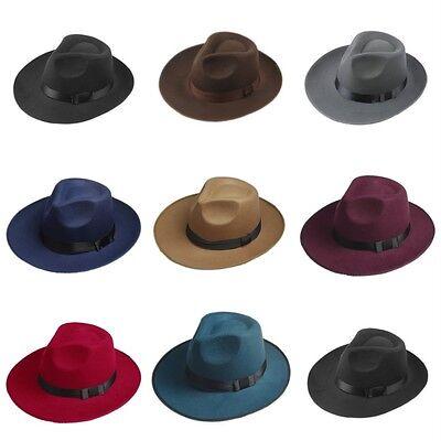 Vintage Men Women Hard Felt Hat Wide Brim Fedora Trilby Panama Hat Gangster Cap